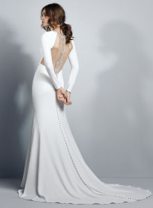 Luxury Bridal Hot Sale White Wedding Dresses Long Sleeve Backless Satin Mermaid Court Train Bridal Gown Custom Made pictures & photos