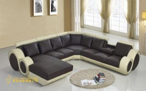 Modern Style U Shape Round Setional Leather Sofa (L055) pictures & photos