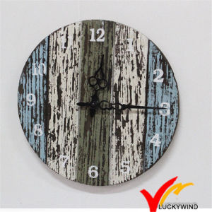 Shabby Chic Vintage Colorful Retro Charm Quartz Wooden Wall Clock for Home Decor pictures & photos