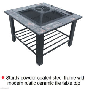 BBQ Table Grill 3in1 Fire Pit Outdoor Garden Courtyard Square Fireplace Camping pictures & photos