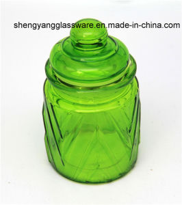 Color Glass Storage Pot Glass Container with Glass Lid Candy Storage Jar Food Storage Jar pictures & photos