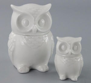 White Ceramic Owl Shape Cookie Jar pictures & photos