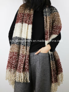 Acrylic Fashion Lady Quality Striped Wide Woven Scarf with Fringe pictures & photos