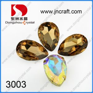 China Factory Price Pointed Back Foiled Golden Shade Pear Drop Fancy Stone for Jewelry Decoration pictures & photos
