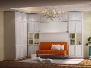 Vertical Tilting Murphy Wall Bed with Front Sofa and Bookshelf pictures & photos