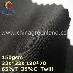 Twill Polyester Cotton Woven Black Fabric for Garment Cap (GLLML368) pictures & photos