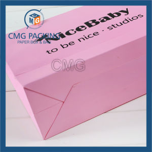 Promotion Paper Bag Pink Matt Surface Black Printing with Logo (CMG-MAY-038) pictures & photos
