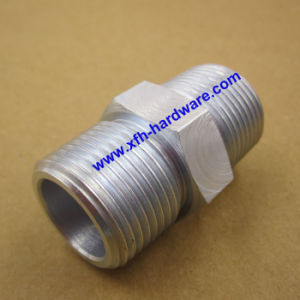 Zinc-Plated Carbon Steel Male Nptf Thread Hex Pipe Nipple
