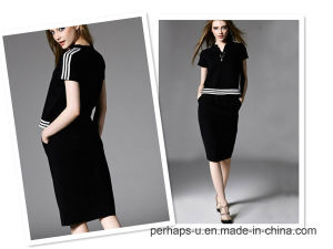 2016 New Style Fashion Fake Two-Piece V-Necked Sort-Sleeved Casual Dress pictures & photos
