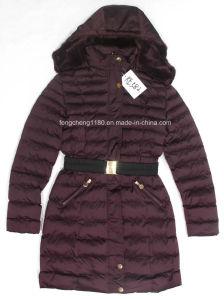 Women′s Winter Long Coat with Belt and Detachable Fur Hood