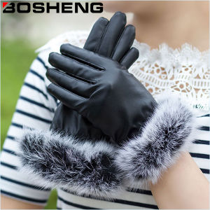 Women Warm Fashion Black Leather Gloves with Feather