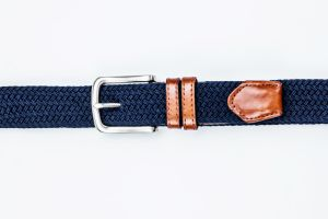 Fashion Men′s Elastic Woven Fabric Leather Belt pictures & photos