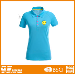 Women′s Print Polo Collar T-Shirt pictures & photos