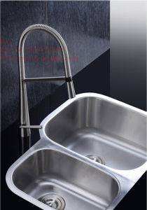 Stainless Steel Kitchen Sink, Kitchen Basin, Cupc Approved Stainless Steel Under Mount Double Bowl Kitchen Sink pictures & photos