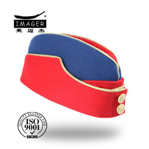 Red and Blue Side Cap with Metal Buttons pictures & photos