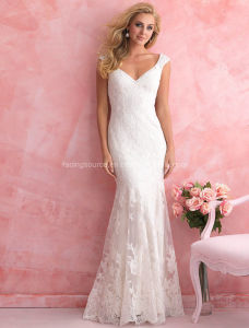 Custom Made Cap Sleeve Lace Bridal Wedding Dresses pictures & photos