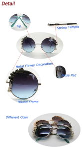 Special Design Sunglasses with Flower Decoration Round Frame Sunglasses (30388) pictures & photos