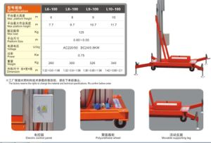 Single Mast Hydraulic Outdoor Lift Elevators for Sale (L9-10) pictures & photos