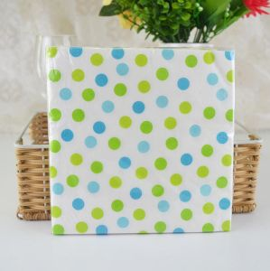 1/4 Folding Eco-Friendly Party Dots Paper Napkin with Color Printed
