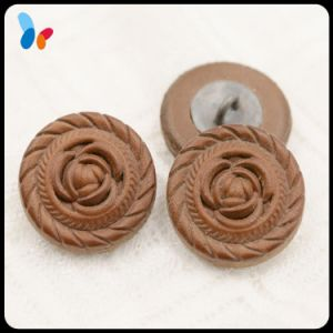Hot Stamped Logo Real Leather Handmade Shank Sewing Button for Garment pictures & photos