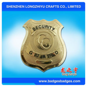 Custom Shield Shaped Gold Plating Commemorative 3D Metal Badges pictures & photos