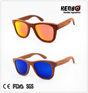 Top Selling Real Wood Sunglasses with Real Revo Coating Polarized Lens Fumigation Test Kw018 pictures & photos