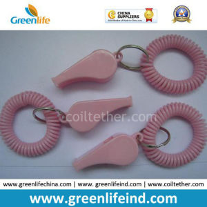 Solid Pink Polyethylene Wrist Strap Tether W/Whistle Promotional Gift