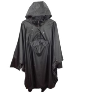 Black Hooded PU Reflevtive Raincoat/Rain Jacket pictures & photos