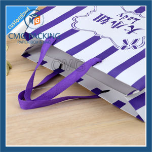 Striped Paper Bag with Purple Stripes Printing (CMG-MAY-039) pictures & photos