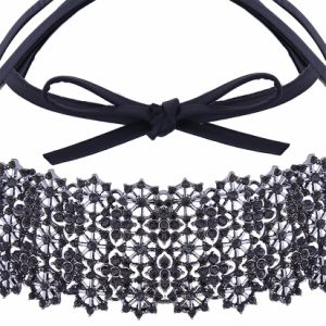 Fashion PU Leather Bow Full Rhinestone Glittering Flower Diamond Collar Choker Necklace Jewelry pictures & photos