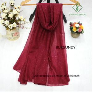 Voile Plain with Sprinkle Muslim Shawl Wholesale Lady Fashion Scarf pictures & photos