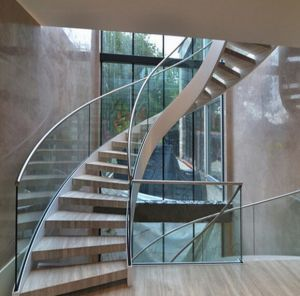 Curved Glass Staircase With Frameless Glass Railing Stainless Steel Handrail