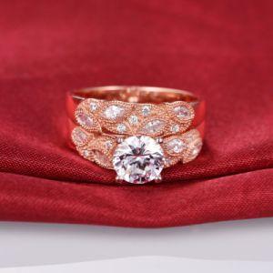 Rose Gold Leaf Design Bridal Ring Set -37 pictures & photos