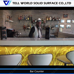 Straw Design Solid Surface Furniture L Shaped Custom Made Bar Counter for Sale pictures & photos