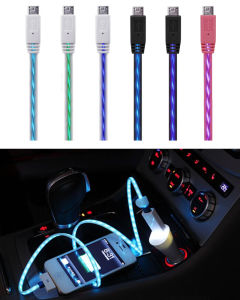 Visible USB Data Sync Flowing LED Light Charger Cable pictures & photos
