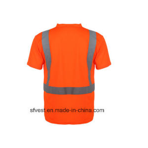 Safety Reflective Short Sleeve Polo Shirt with V Neck pictures & photos