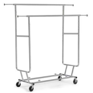 Adjustable Double Rail Rolling Clothing Garment Rack Drying Rack, Chrome Finish Jp-Cr406 pictures & photos