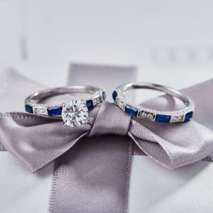 Blue Engagement Ring Set - 9 pictures & photos