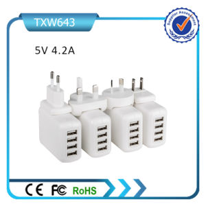 5V 4.2A Mini USB Charger 4 USB Wall Charger Removable Plug Travel Charger pictures & photos
