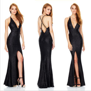 Glittery Braces Sexy Hot-Slit Backless Sequin Deep-V Evening Dress (Dream-100046) pictures & photos