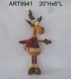 Furry Cuff Dangle Legged Reindeer Christmas Gift Stocking pictures & photos