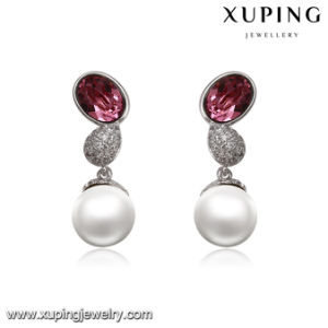 93834 Fashion Jewelry Rhodium Pearl CZ Eardrop with Crystals pictures & photos