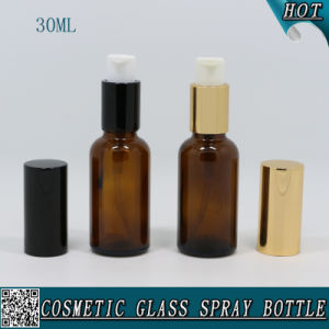 30ml Amber Glass Lotion Pump Bottle with Black Aluminum Pump Sprayer pictures & photos