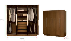 Melamine Laminated MFC Clothes Storage Cabinet Wooden Wardrobe (HX-DR317) pictures & photos