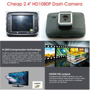 "Cheapest HD1080p Car Digital Recorder Camera with 2.4"" HD TFT Display; HDMI out; AV-out; Night Vision, 4G Lens, 120 Degree View Angle, Car DVR-2406 pictures & photos"