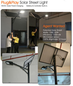 Ce RoHS FCC Working Mode Settable 130lm/W 40W LED Solar Street Light pictures & photos