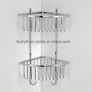 Chrome Bathroom Corner Basket with Double Shelf (8811) pictures & photos