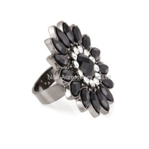 Vintage Round Black Flower Ring Gun Black Plated Crystals Black Acrylic Rings for Women Party Turkish Metal Jewelry pictures & photos