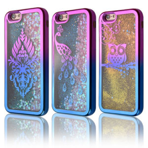Shiny Glitter Dynamic Flowing Love Heart Clear Soft TPU Protective Cover for iPhone 7 pictures & photos