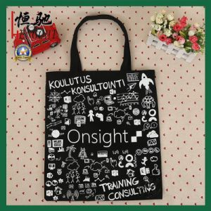8oz Canvas Black Color Student Leisure Bag for Carrying Book pictures & photos